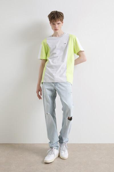 코튼 컬러블록 반팔 티셔츠