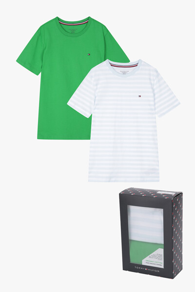 코튼 솔리드 스트라이프 티셔츠 2P