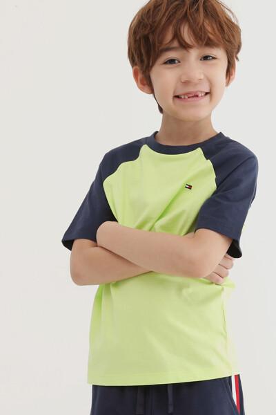 코튼 배색 래글런 티셔츠