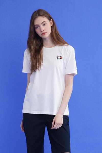 코튼 플래그 크루넥 티셔츠