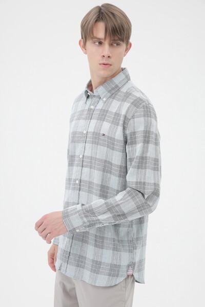 린넨 코튼 체크 셔츠