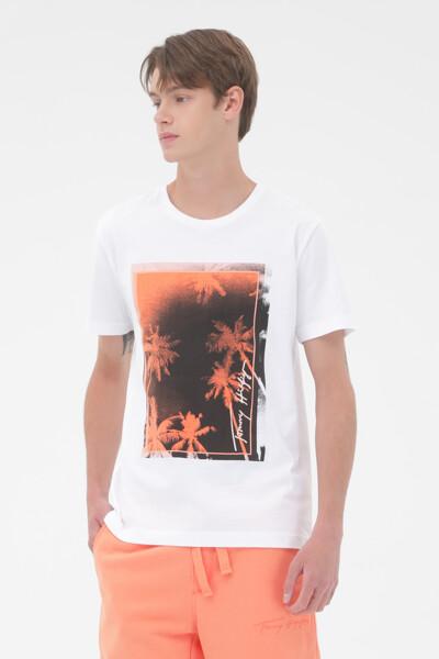 팜 포토 프린트 티셔츠