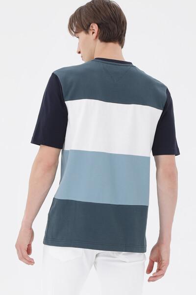 백 컬러블록 반팔 티셔츠
