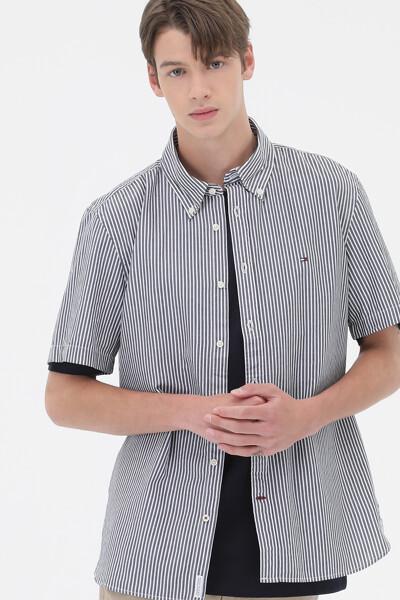숏 슬리브 스트라이프 셔츠