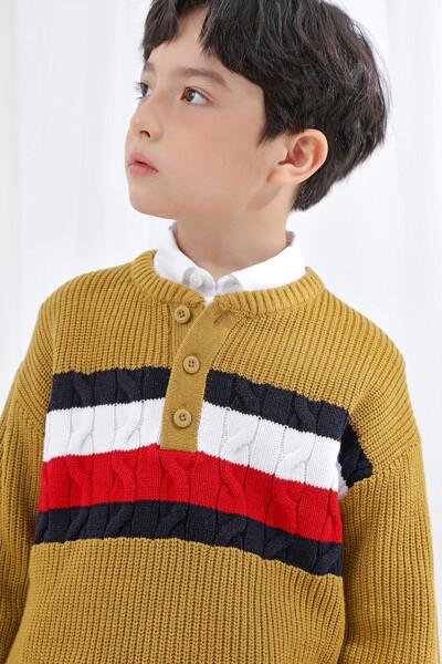 글로벌 스트라이프 헨리넥 스웨터