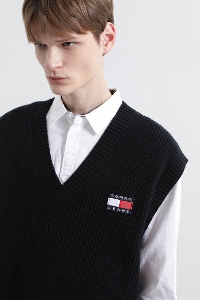 뱃지 울 스웨터 베스트