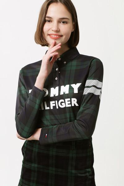체크 프린트 롱 슬리브 폴로 셔츠