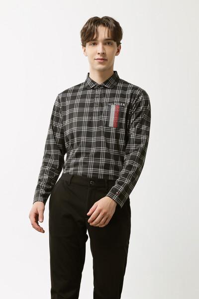 체크 프린트 포켓 롱 슬리브 폴로 셔츠