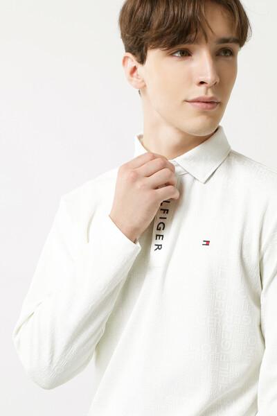 로고 자카드 롱 슬리브 폴로 셔츠