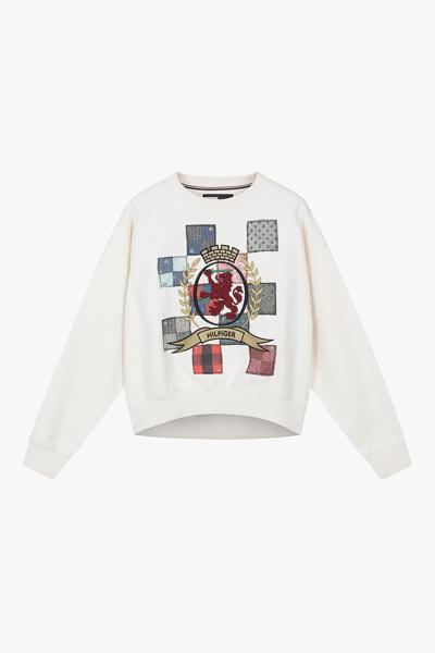 면혼방 패치워크 긴소매 스웻 티셔츠