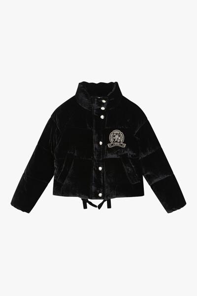 벨벳 오버핏 크레스트 다운 코트