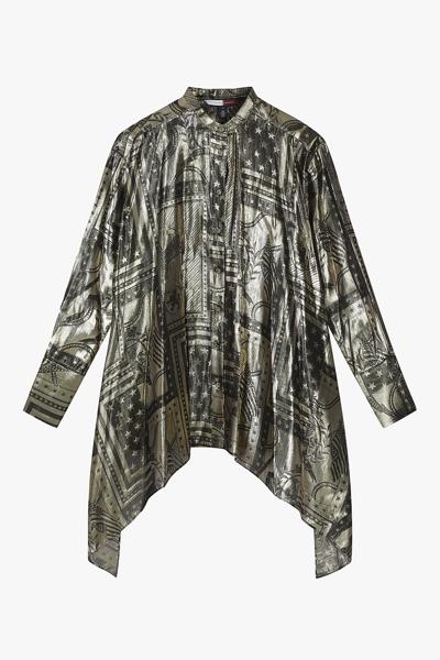 실크혼방 크레스트 긴소매 셔츠
