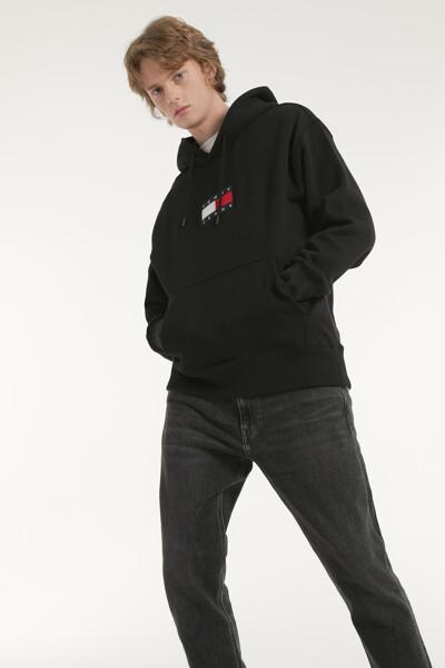 코튼 미니 플래그 긴소매 후드 티셔츠