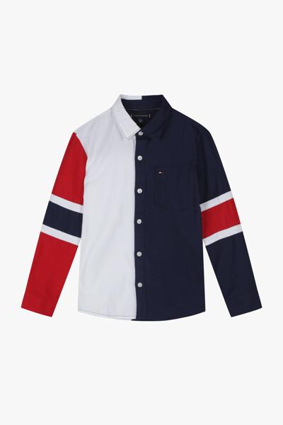 코튼 레귤러핏 컬러블록 셔츠