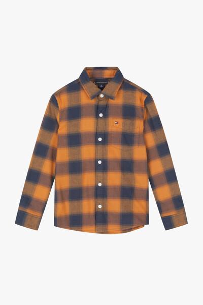 면혼방 스트레치 체크 하프 셔츠