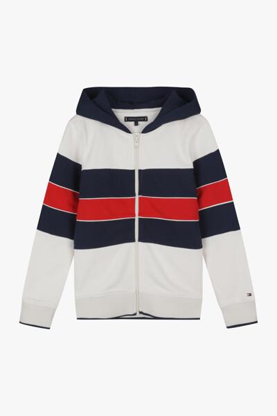 코튼 레귤러핏 컬러블록 후드 자켓