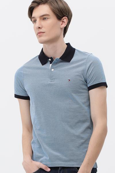코튼 슬림핏 피케 티셔츠