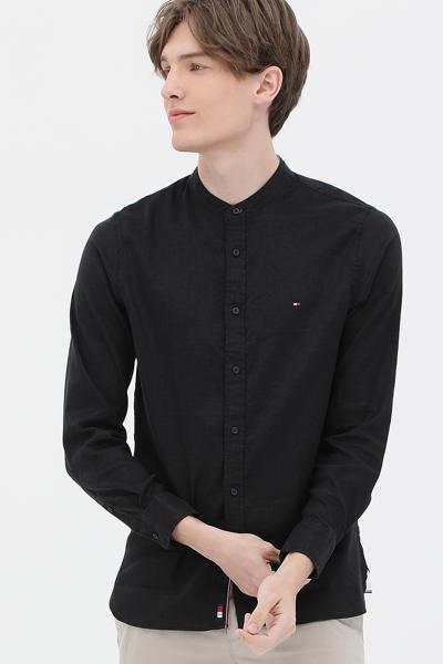 린넨혼방 슬림핏 베이직 셔츠