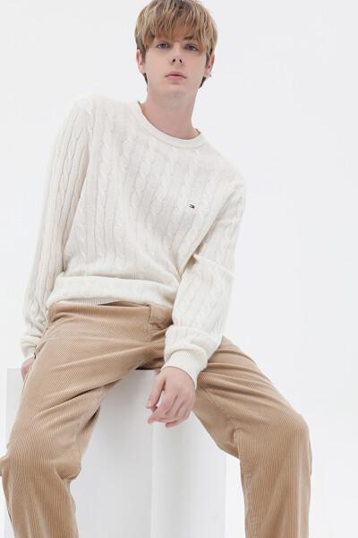 캐시미어혼방 케이블 크루넥 스웨터