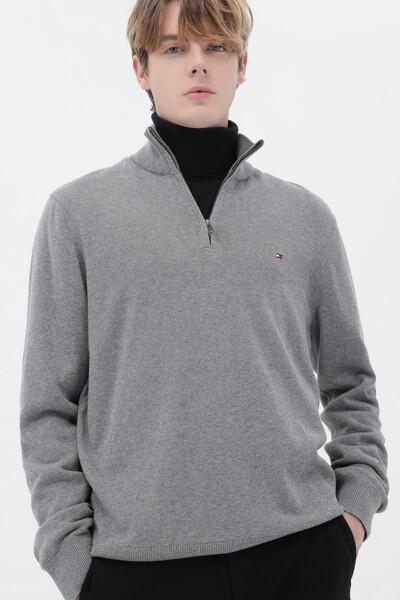 캐시미어혼방 베이직 목넥 하프집업 스웨터