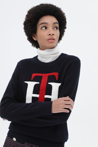 코튼 TH그래픽 크루넥 스웨터