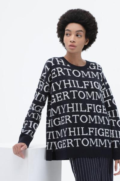 울혼방 그래픽 크루넥 스웨터