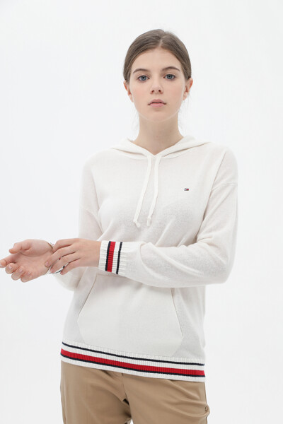 캐시미어혼방 아이코닉 긴소매 후드 스웨터