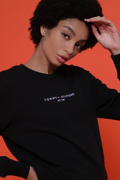 코튼 플래그 자수 긴소매 스웻 티셔츠