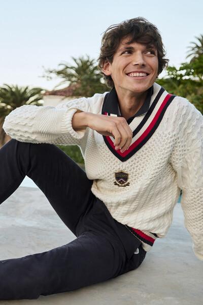 면 혼방 루즈핏 패치워크 스웨터