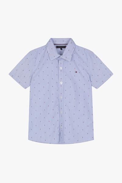 핀 스트라이프 반소매 셔츠