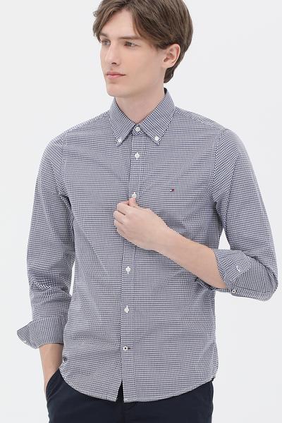코튼 슬림 베이직 깅엄체크 셔츠