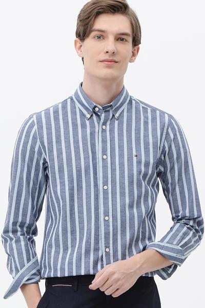 면혼방 레귤러핏 볼드스트라이프 셔츠
