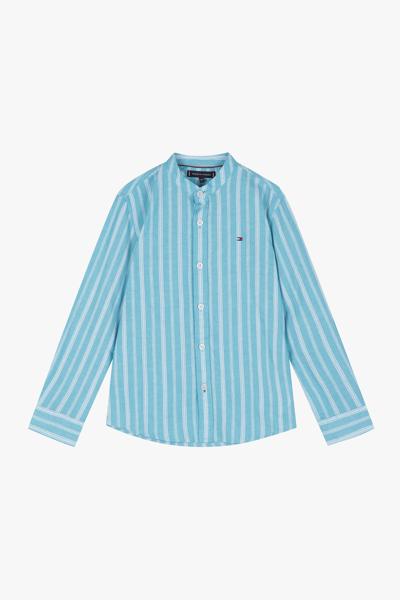면혼방 스트라이프 헨리넥 셔츠