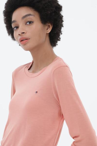 실키 미니 플래그 라운드넥 티셔츠
