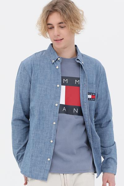 데님 레귤러핏 플래그 뱃지 셔츠