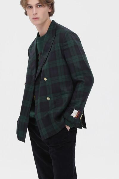 울혼방 박시핏 타탄체크 블레이저 자켓
