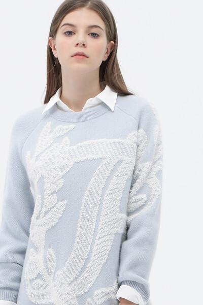 플로럴 크루넥 스웨터