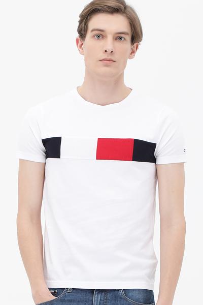 코튼 로고 텍스쳐 반소매 티셔츠