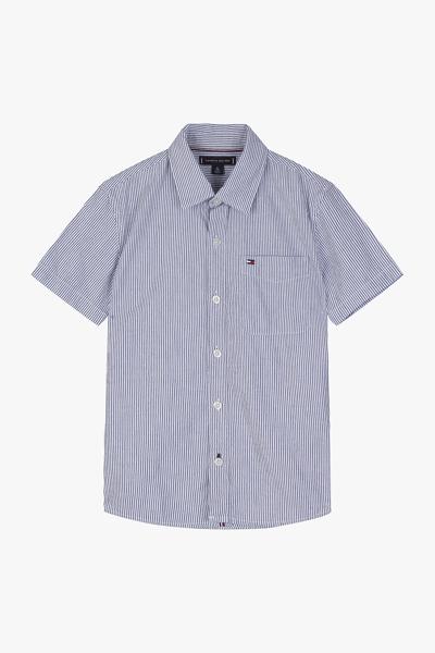 면혼방 스트라이프 반소매 셔츠