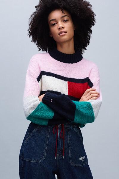 컬러블록 플레그 벨 슬리브 스웨터