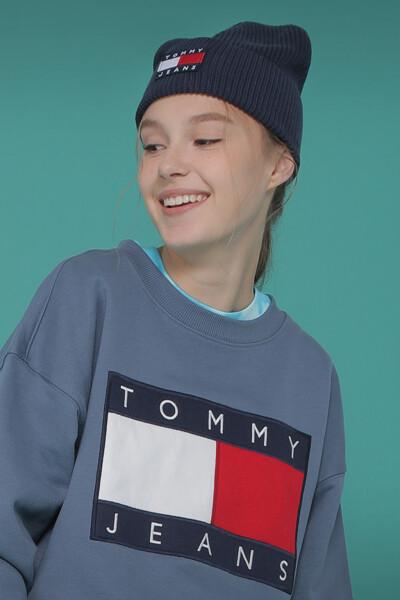 코튼 엠브로이드 플래그 크루넥 맨투맨 티셔츠
