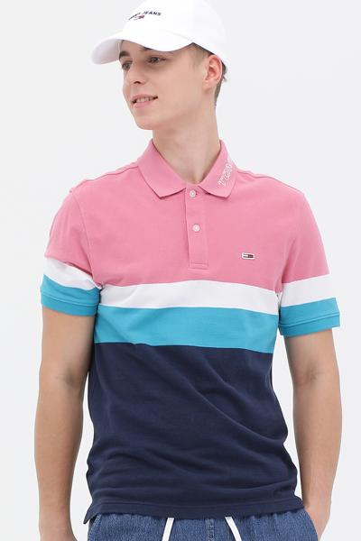 코튼 체스트 스트라이프 반소매 폴로 티셔츠