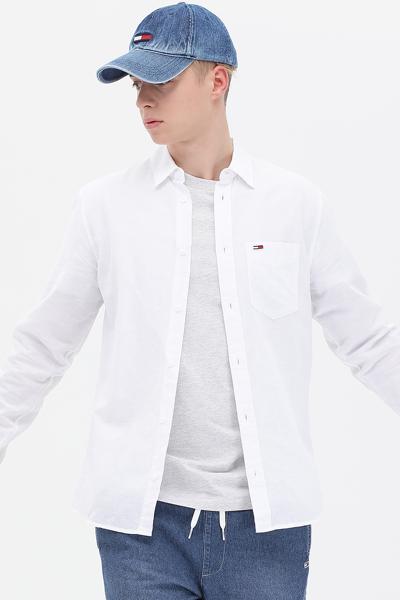 린넨혼방 레귤러핏 솔리드 셔츠
