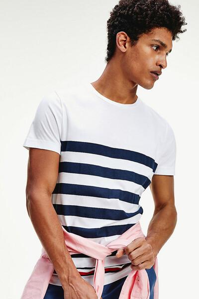 코튼 볼드 스트라이프 반소매 티셔츠