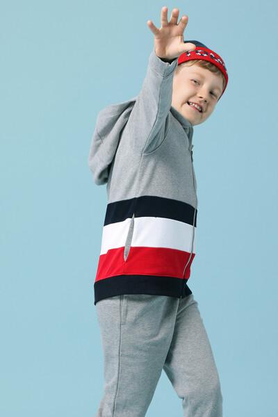 코튼 레귤러핏 컬러 블록 후드 자켓