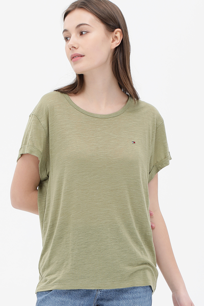 린넨혼방 라운드넥 롤업 반소매 티셔츠