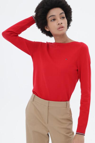 면혼방 스트라이프 보트넥 스웨터