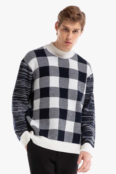 [남성] 울혼방 체크 긴소매 스웨터