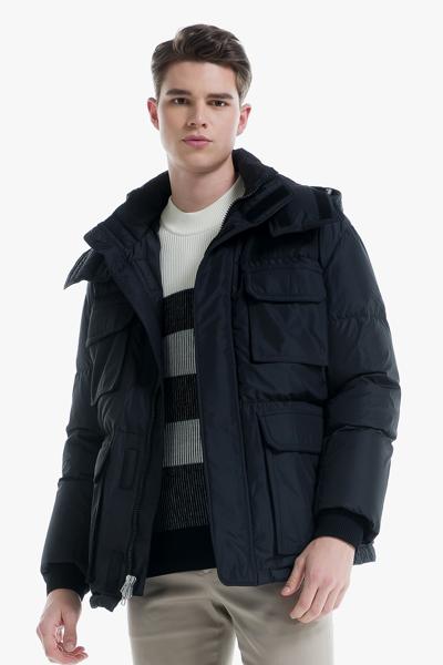 [남성] 폴리 베이직 퀼팅 포켓 구스다운 코트