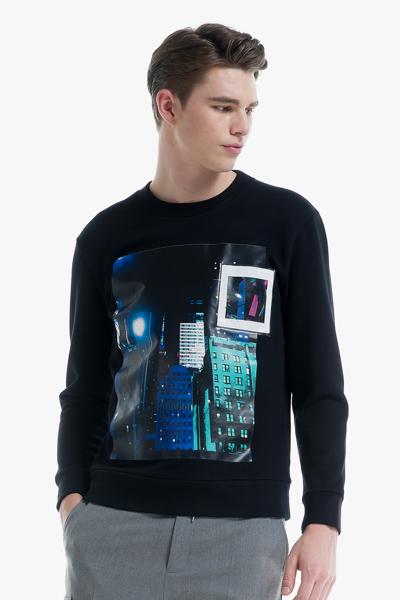 [남성] 코튼 포토프린팅 긴소매 맨투맨 티셔츠